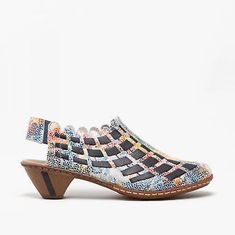 Rieker 46778-91 Damen Block Ferse Schuhe Ozean/Multi