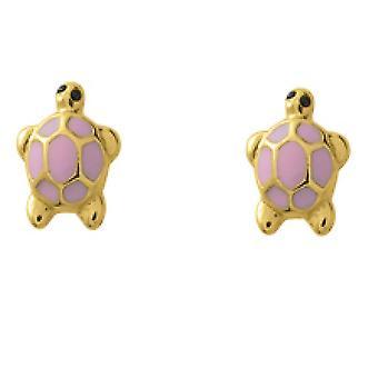 Earrings Tortes gold laque 375/1000 yellow original shape color e screw (9K)