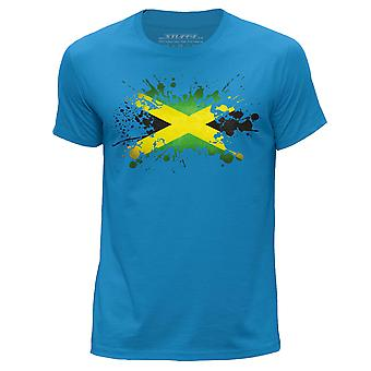 STUFF4 Men's Round Neck T-Shirt/Jamaica/Jamaican Flag Splat/Blue