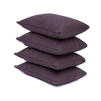 4 paquet de chocolat Brown Cotton Fabric Bean Bags for Sports, PE, School, Catching Games, Sensory, Juggling