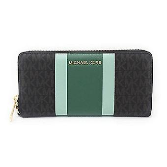 Michael kors jet set travel continental wallet brown mk pine green