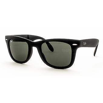 Ray-Ban Składany Wayfarer RB4105 601S Matowe czarne/kryształowe zielone okulary przeciwsłoneczne