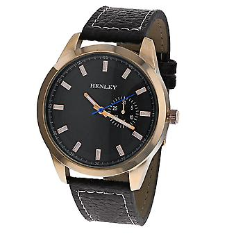 Henley Gents Rose Goldtone Brown Sunray Dial Brown PU Strap City Watch H01014.44