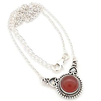 Carnelian necklace 925 silver sterling silver chain necklace orange red (MCO 10-16)