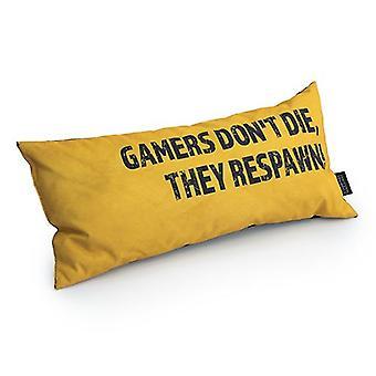 Game Over Gamers Don't Die, They Respawn! Slogan - Amarelo | Almofada para Jogos | Migalhas de espuma preenchidas | Resistente à água | Cama e Sofá | Decoração de casa