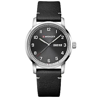 Wenger Attitude Heritage Quartz Black Dial Black Leather Strap Men's Watch 01.1541.116 RRP £149