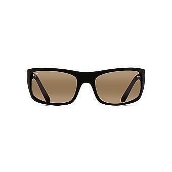 Maui Jim Peahi PolarizedPlus2 Lenses Wrap Sunglasses - Black Matte Rubber/HCL Bronze Polarized - Large