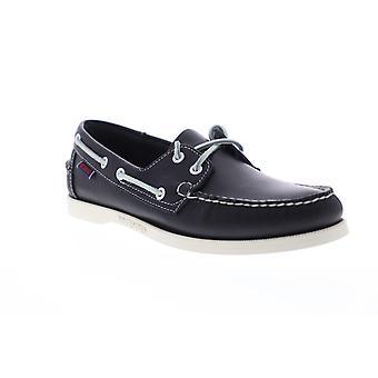 Sebago Portland Docksides Mens Blue Leather Loafers & Slip Ons Boat Shoes