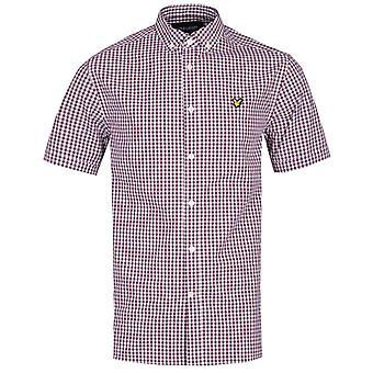 Lyle & Scott Short Sleeve Slim Fit Merlot Checked Gingham Shirt