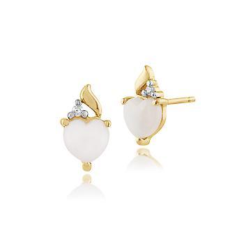 Aretes clásicos de ópalo y diamantes en oro amarillo de 9 qt 135E1201019