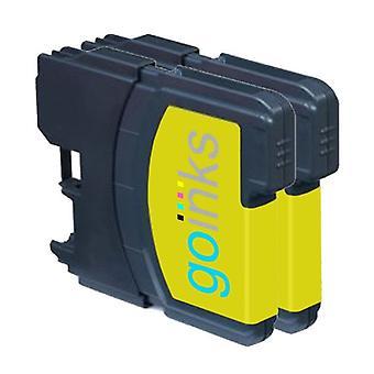 2 cartouches d'encre jaune pour remplacer Brother LC980Y & LC1100Y Compatible/non OEM par Go Encres