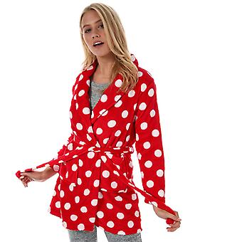 Women's Brave Soul Polka Dot Dressing Gown in Red
