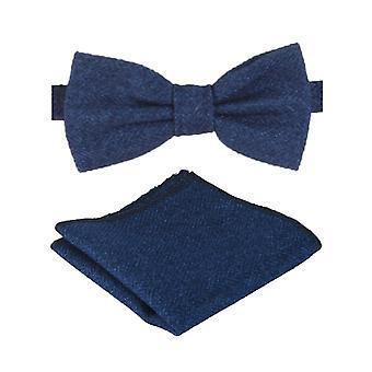 Mens & Boys Blue Herringbone Tweed Dickie Bow Tie and Pocket Square