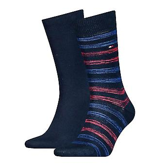 Tommy Hilfiger 2 Pack Duo Stripe Socks - Navy/Red