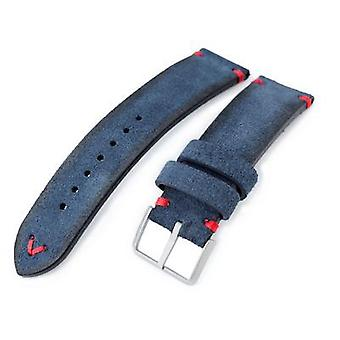Strapcode leather watch strap 20mm, 21mm, 22mm miltat navy blue genuine nubuck leather watch strap, red stitching, buckle