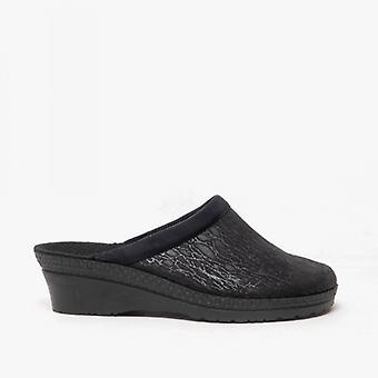 Rohde 2455 Ladies Slip On Mule Slippers Black