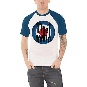 The Who T Shirt Vintage distressed Target logo new Official Mens White Raglan
