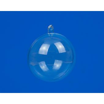 6 Baby Blue Two-Part 60mm Fillable Transparant Plastic Kerstballen