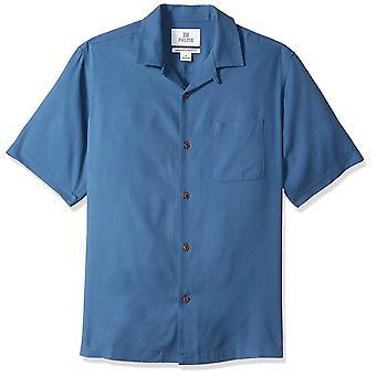 28 Palms Men's Relaxed-Fit 100% Silk Camp Shirt, Deep Ocean Blue, X-Large