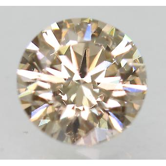 Cert 0.76 Carat Top Light Brown VVS1 Round Brilliant Natural Diamond 5.8mm 3EX