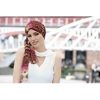 Chapeaux de chimio en coton pour femmes | Daisy Red Summer Mosaica