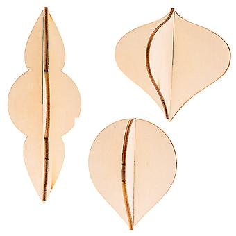 3 Natural Wooden Hanging 3D Baubles - Use Plain or Decorate