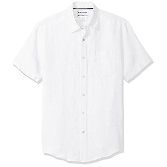 Essentials Men & apos;s Slim-Fit Short-sleeve الكتان قميص, أبيض, متوسط