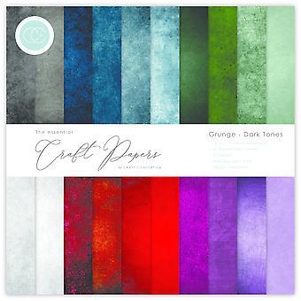 Craft Consortium Essential Craft Papers 12x12 Inch Paper Pad Grunge Dark Tones