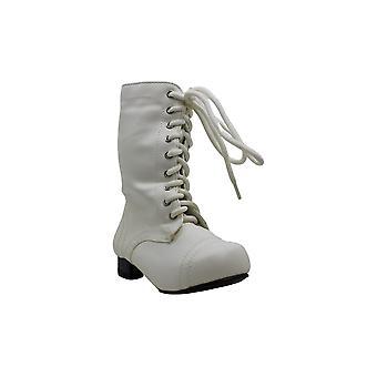 Children's White Ankle Combat Boot 9/10