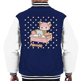 Aggretsuko Retsuko Bij Desk Pink Polka Dot Men's Varsity Jacket