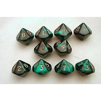 Oblivion 10 x 10-Sided Dice Set - Green