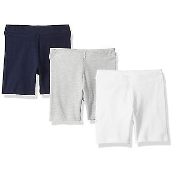Essentials Little Girls' 3-Pack Cart-Wheel Short, Bright White/Navy/He...