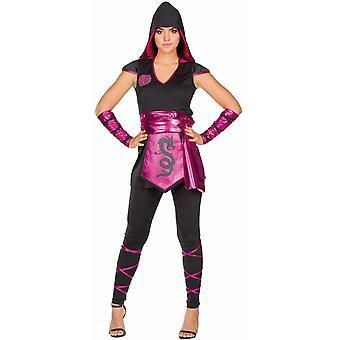 Ninja Damenkostüm Asiatin Kämpferin Pink Damen Karneval 4-tlg. Ninjakostüm