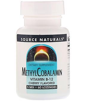 Source Naturals, MéthylCobalamine, Vitamine B12, Saveur de cerise, 5 mg, 60 lozenge