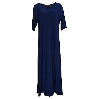 Attitudes by Renee Dress Solid Maxi Dress Navy Blue A375406