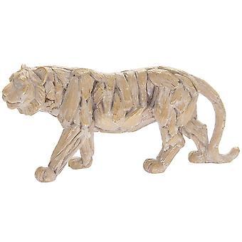 Driftwood Tiger hartsi puinen veistetty vaikutus eläinten patsas ornamentti