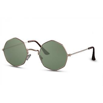 نظارات شمسية Unisex مستطيلة كامل مؤطرة الذهب / الأخضر