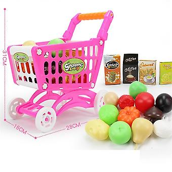 16pcs Supermarket Shopping Cart Trolley Push, Simulation Fruits  Vegetables
