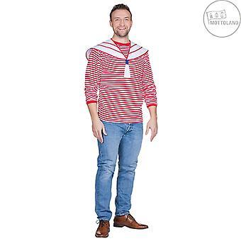 Ringelpulli z kołnierzem czerwony męski żeglarz kostium żeglarz żeglarz