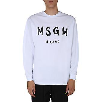 Msgm 2940mm10520759801 Mænd's Hvid Bomuld Sweatshirt