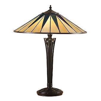 2 Lampe de table légère noire, verre de style Tiffany, E27
