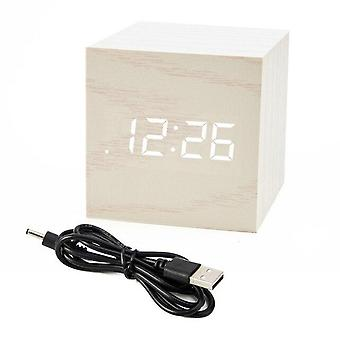 Led Wooden Voice Control Alarm Clock