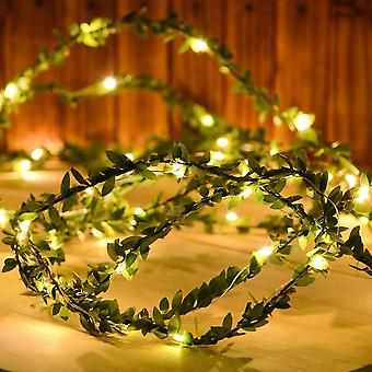 Green Leaf Garland-fairy String Lights For Christmas Party, New Year, Wedding