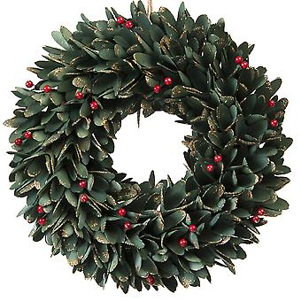 36cm Green Leaf and Red Berries Wooden Wreath in a box Christmas Home Decoration