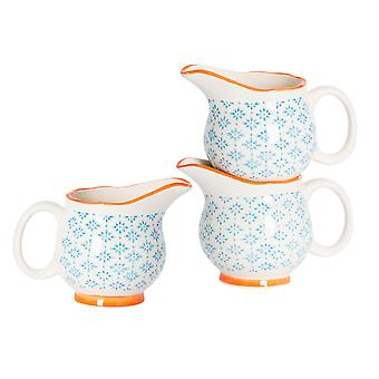 Nicola Spring 3 Piece Hand-Printed Milk Jug Set - Japanese Style Porcelain Cream Gravy Boat - Blue - 300ml