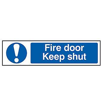 Scan Fire Door Keep Shut - PVC 200 x 50mm SCA5004