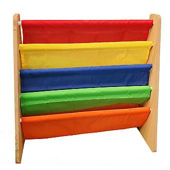 Hyfive niños niños estantería estante estante estantes estantes de color arco iris tela 4 nivel