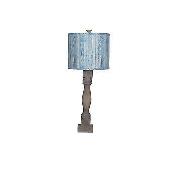 Nødstedte brun bordlampe med træplanker i blå nuance