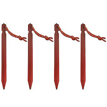 4Pcs Red Aluminum Alloy Outdoor Camping Trip Tent Stakes Peg Ground Nail