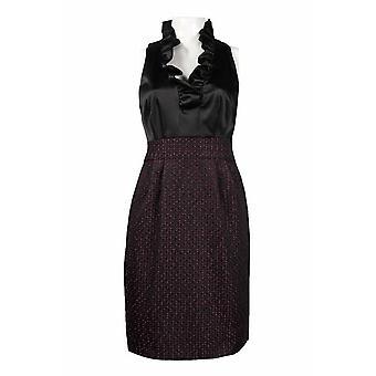 Ruffle Neckline Satin And Tweed Mock Two Piece Dress